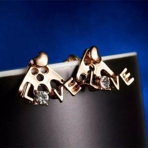 WHITE TOPAZ GOLD PLATED 'LOVE' EAR JACKET EARRINGS
